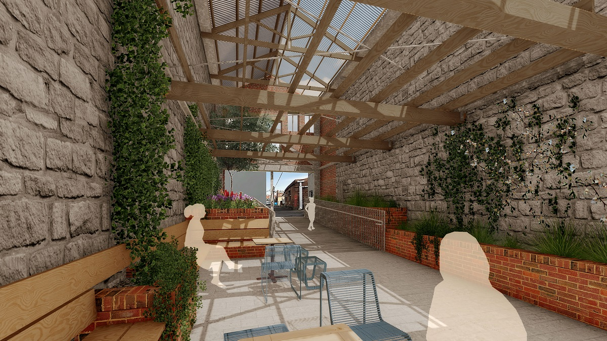 Artist impression of Dennys Place Laneway after the breakthrough project looking out to Little Malop Street and featuring stone walls, seating and greenery