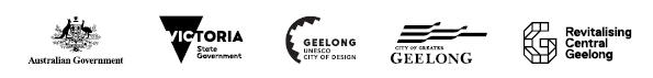 Australian Government logo, Victorian Government logo, Geelong Unesco City of Design logo, City of Greater Geelong logo, Revitalising Central Geelong logo